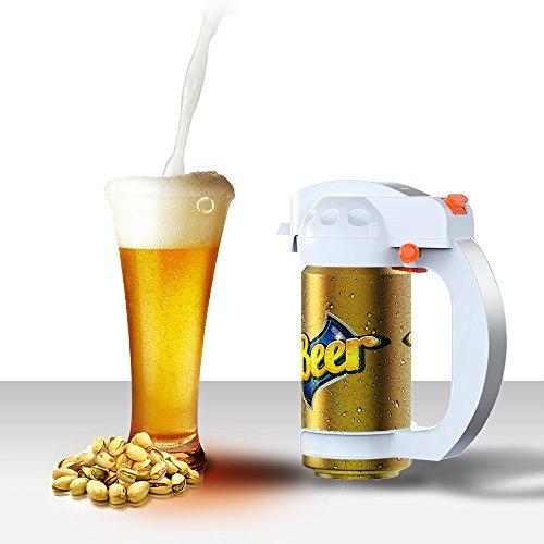 Bcway Beer Foam Maker, Portable BatteryPowered Handy Beer Server Ultrasonic Beer Foamer, Micro-foam Creamy Beer Frother Dispenser for Canned Beer 330ml/500ml (White) (Portable Dispenser Beer)
