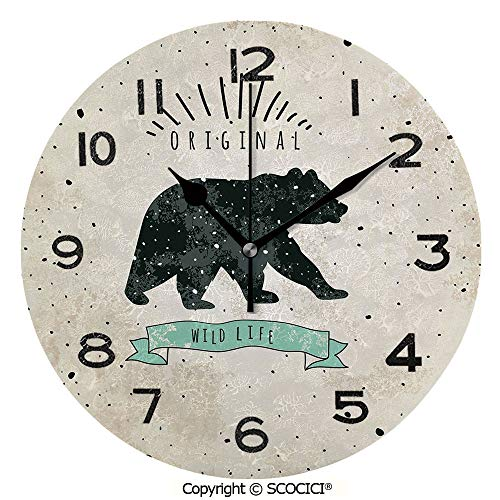 (SCOCICI Print Round Wall Clock, 10 Inch Vintage Wildlife Label Hunting Theme Icon with Random Dots Predator Paws Decorative Quiet Desk Clock for Home,Office,School)
