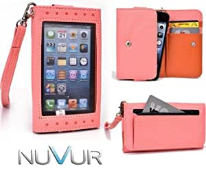 Coral [Expose] Cover Case Wallet Clutch Huawei Ascend Y300 + NuVur ? Keychain (ESAMEXP1)