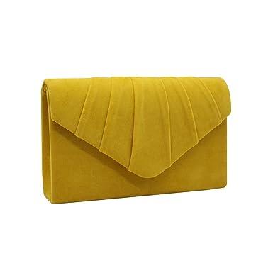 5c2eca2f10521 Wocharm Brand New Luxury Womens Ladies Pleated Suede velvet Clutch Bag  Handbag Bridal Evening Prom Party (Yellow): Amazon.co.uk: Clothing