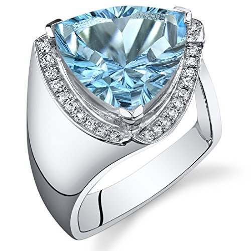 7.00 Carats Swiss Blue Topaz Ring Sterling Silver Concave Trillion Cut Size 5