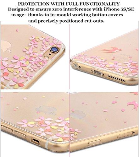 Funda iPhone 5S, Funda iPhone 5 SE, Bonice Premium Creativa Patrón Ultra Delgado Soft TPU Transparente [Crystal Clear] + Protector de Pantalla HD - Flamenco Design 06