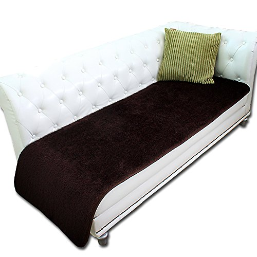 Two type fur Darkbrown Color Sofa pad & mat 3-4 people Sofa Furniture Protector sofa Shield Scratch safety (25x90)