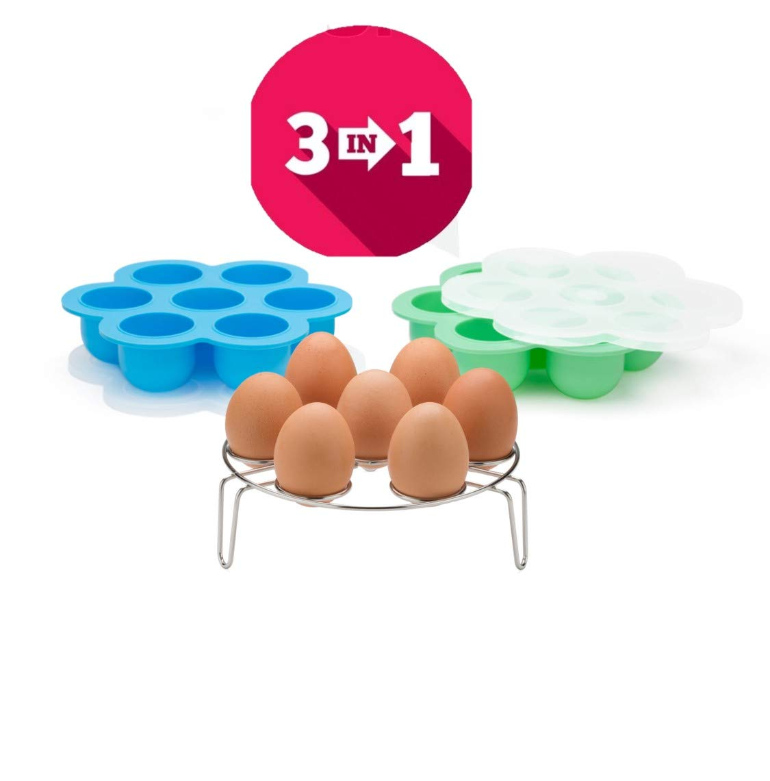 Original Silicone Egg Bites Molds with Lids and One Stainless Steel Stackable Egg Steamer Rack Fits Instant Pot-5,6,8 qtr. Pressure Cooker - FDA Approved Food Storage Container, Freezer Trays Ice