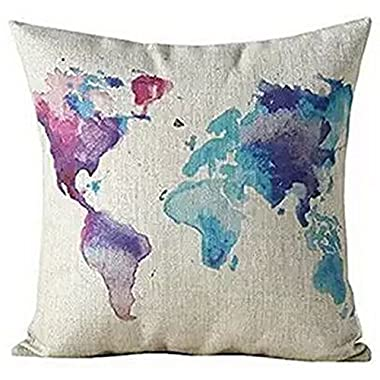 Color World Map Purple Cotton Linen Throw Pillow Case Cushion Cover Home Office Decorative, Square 18 X 18 Inches (For Living Room, Sofa,car)