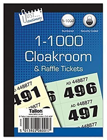 1000 Cloakroom Draw Raffle Tombola Numbered Tickets Book Fetes School Office