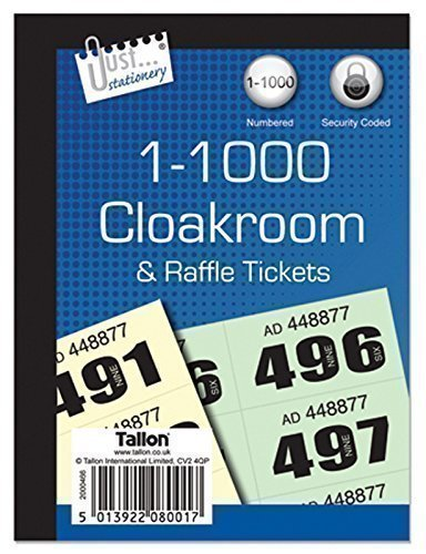 The Home Fusion Company 1000 Cloakroom Draw Raffle Tombola Numbered Tickets Book Fetes School Office