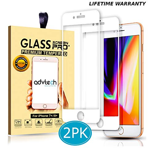 ADVTECH [2-Pack] iPhone 7 8 Plus Screen Protector [Full Coverage White] Tempered Glass [Edge to Edge Protection] 3D Natural Touch [0.33mm Ultra Thin] for Apple iPhone + 5.5 inch [9H Hardened Glass]