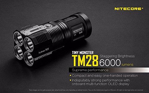 NITECORE TM28 4CREE XHP35 HI max.6000LM beam distance 655meter LED outdoor flashlight + 4pcs 18650 3100mAh li-ion batteries by Nitecore (Image #1)