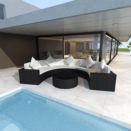 Festnight Outdoor Garden Sofa Set Half-round Patio Furniture Poly Rattan Black