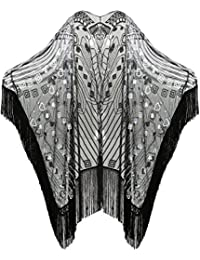 1920s Sequin Beaded Shawl Wraps Fringed Evening Cape Scarf for Wedding