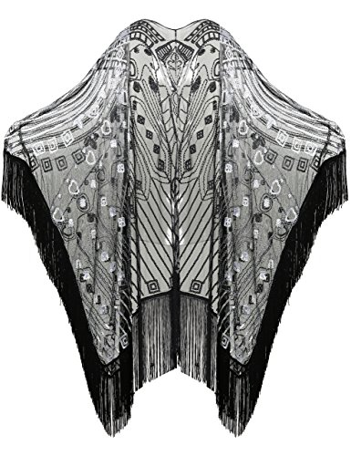 BABEYOND 1920s Beaded Shawl Wraps Sequin Fringed Evening Cape Wedding Bridal Shawl Scarf for Evening Dresses Party (Black) -
