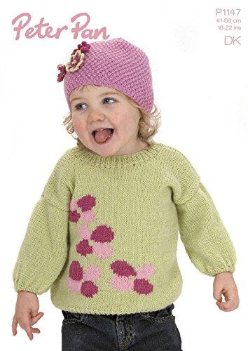 Peter Pan Girls Flower Sweater & Hat Knitting Pattern 1147 DK