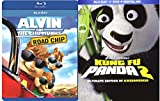 Alvin & the Chipmunks: The Road Chip & Kung Fu Panda 2 Blu Ray Animated Bundle Cartoons movie Set