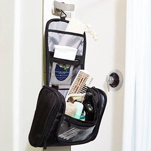 AmazonBasics Hanging, Travel Toiletry Bag Organizer, Shower Dopp Kit, Black