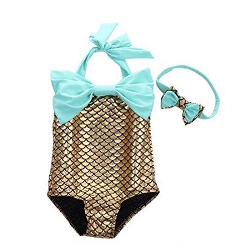 [Baby Girls Little Mermaid Bow Squama Set Swimwear Bathing Suit Swimmable (3. Size:100(Age:3-4 Years), golden] (Little Mermaid Tutu Dress)