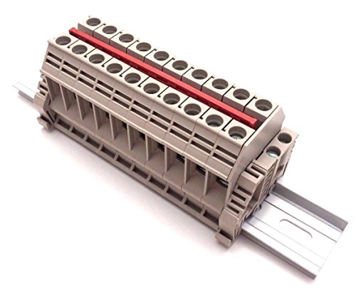 (Dinkle Solar Combiner DK10N 10 Gang Box Connector DIN Rail Terminal Blocks, 6AWG, 60 Amp, 600V)