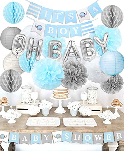 KREATWOW Boy Baby Shower Decorations - It's A Boy Baby Shower Decorations Kit with Oh Baby Balloons It's A Boy Baby Shower Banner -