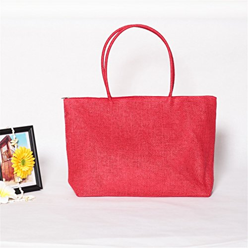 Amuele Handbag Purse Straw Shoulder Bag Tote Shopping Beach RED Woven Weave qPqUwBRT