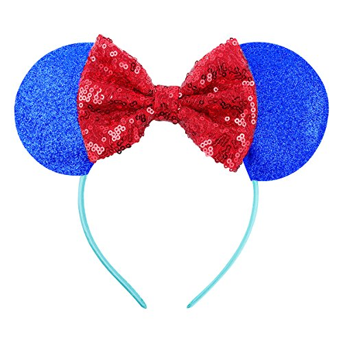 Cute Mickey Mouse Ears Headband Hoop Hair Accessories Headdress Hair Accessories for Party Festivals (Royal Blue Red) (Mickeys Snow)