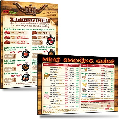 Best Meat Smoker Gifts Set: Cool Meat Temperature Guide + Must-Have Meat  Smoking Time & Temperature Guide of 31 Meat Types Big Fonts 8
