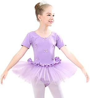 Abollria Tutu Tulle Bambina Danza Classico Un-Pezzo Abito per Balletto Ginnnastica Vestito Principessa per Spettacolo di Feste Costume per Halloween Natale Carnevale Dancewear Leotard