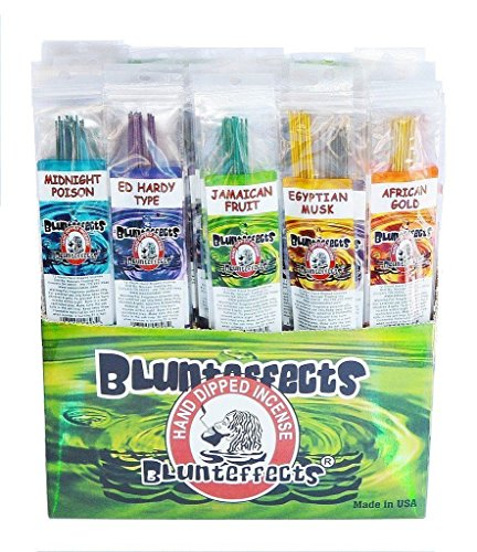 Blunteffects Long Lasting Hand-Dipped Incense Display (72 COUNT Asst.) w/ Free Gift (Incense Stick Display Pack)