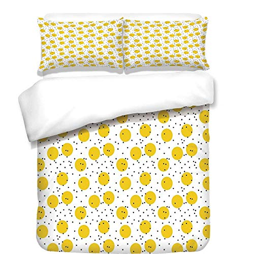 - VAMIX 3Pcs Duvet Cover Set,Yellow and White,Minimalist Modern Geometric Big Circles Rounds and Dots Retro Decorative,Marigold and Black,Best Bedding Gifts for Family/Friends,