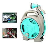 Aolvo Retractable Garden Water Hose Reel Wall Mount, Auto Automatic Garden Hose Reel, Any Length Lock, Car Washing, Watering Flowers, Showering Pets, Simple Storage, Ideal For Most Places - Blue