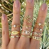 BERYUAN Trendy Gold Mid Finger Rings for Women Rings Set Eye Knuckle Rings for Girls Teens Jewelry Rings Size 3.5,4,4.5,5,5.5