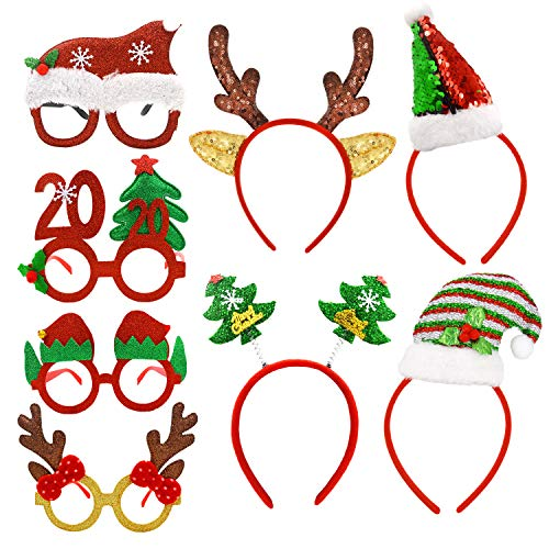 8 Pack Christmas Headbands Christmas Glasses Frames Holiday Party Fancy Glitter Headbands Glasses, 4 Pcs Christmas Headbands and 4 Pcs Christmas Party Glasses Frames, Reindeer Antlers Snowman Xmas Tree Photo Prop Booth for Christmas Party (Spirit Pics Funny Christmas)