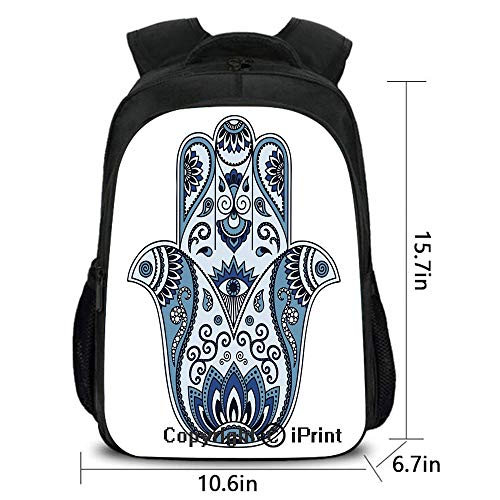 Trans Blue Protective Case - Backpack,Mystical Ancient Civilizations Culture Protective Power Luck Evil Eye,School Bag :Suitable for Men and Women,School,Travel,Daily use,etc.Pale Blue Indigo Baby Blue