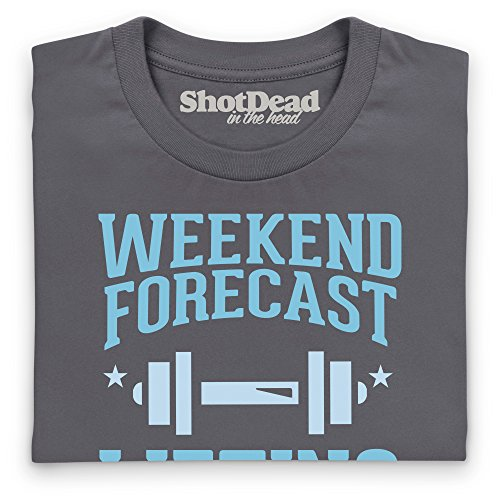Weekend Forecast Lifting Camiseta Funny Novelty Gift, Para mujer Gris marengo