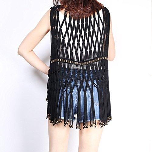 Sans Veste Gilet Collection Femmes Femme Longue Glands Casual Manches Wanyang Noir De nOq0F6z6w