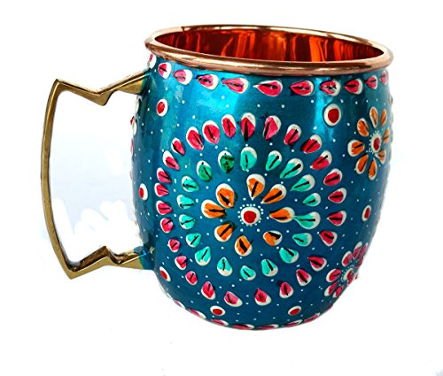 Smirnoff Lime Vodka - Rastogi Handicrafts Handmade Pure Copper Outer Hand Painted Art Work Wine, Vodka, Beer,Cocktail,Juice, Cold Coffee Mug - Cup 16 oz (1)