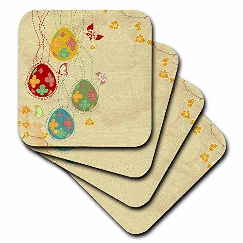 3dRose CST_104578_3 Pretty Spring Eggs Butterflies Floral Easter Vector Design Ceramic Tile Coasters, Set of 4