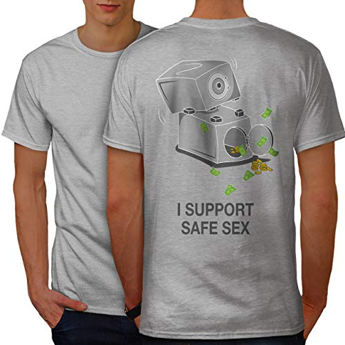 wellcoda Support Safe Sex Funny Mens T-Shirt, Image Design Print on The Back Grey M