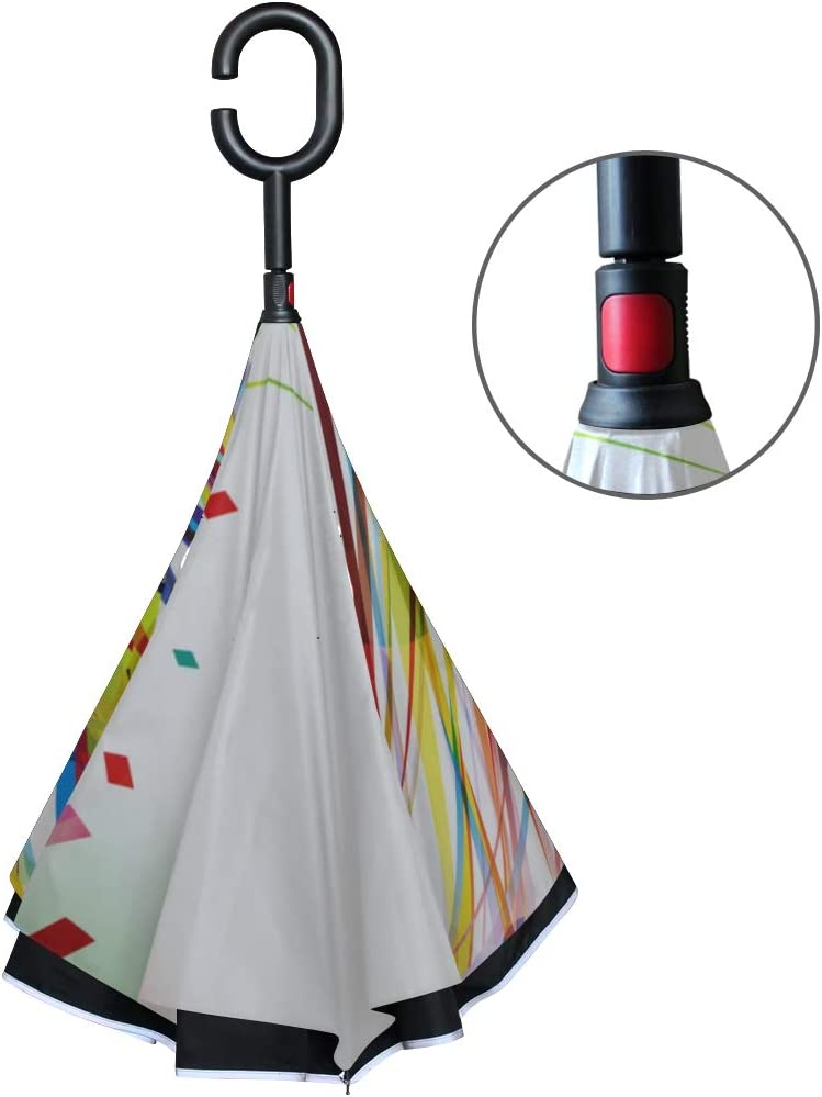 Double Layer Inverted Inverted Umbrella Is Light And Sturdy Abstract Rainbow Wave Line Reverse Umbrella And Windproof Umbrella Edge Night Reflection