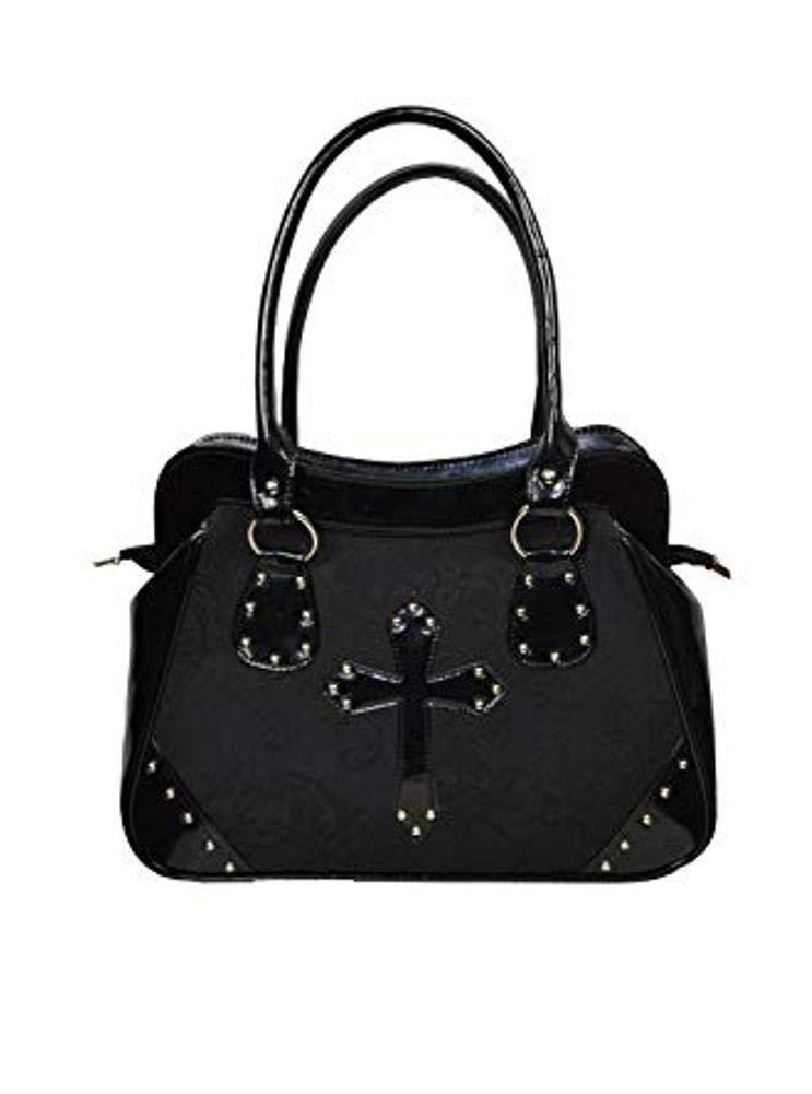 Dark Star Black PVC Brocade Studded Cross Handbag Purse.