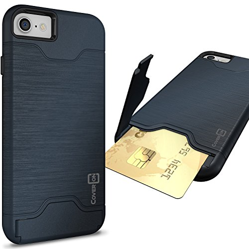 CoverON [SecureCard Series] Fit iPhone 8 Case with Card Holder, iPhone 7 Case, Protective Hard Hybrid Cover with Credit Card Slot and Kickstand Phone Case for Apple iPhone 8/iPhone 7 - Navy Blue