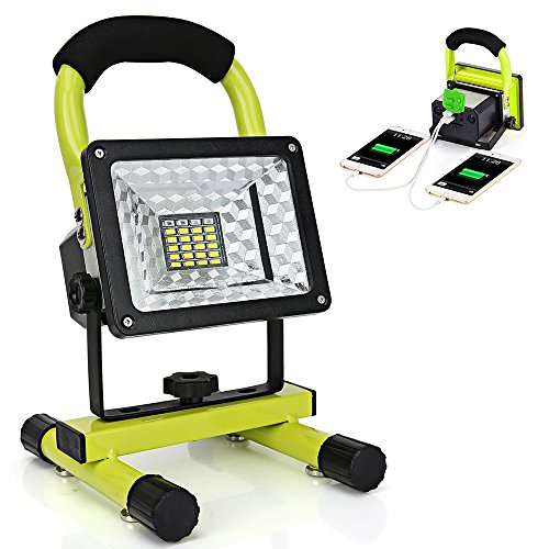 LED Work Light with Magnetic Stand 15W 24 LED Rechargeable Shop Light Portable Outdoor Camping Spotlights with Dual USB Port and Emergency SOS Mode (Best Led Work Light)