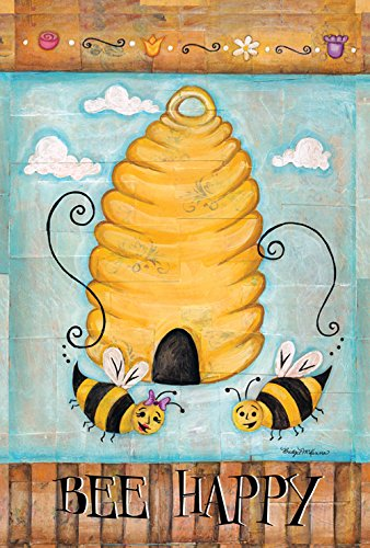 Garden Bee Happy  Garden Flag