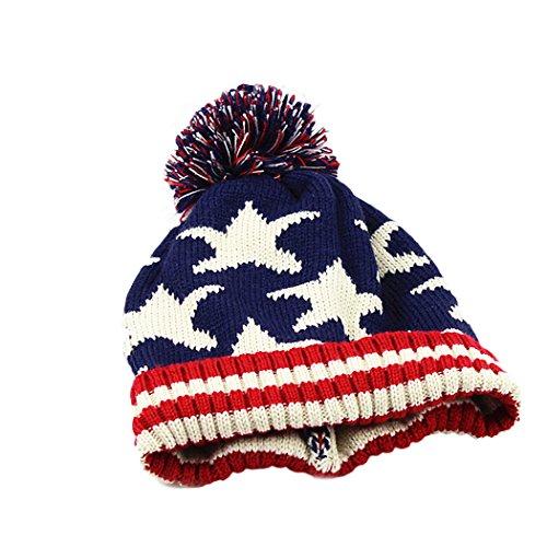 [Raylans Women Men Crochet Knitted Ball Stripe Stars Winter Warm Beanie Hat Ski Cap,Five-pointed] (Ladies Golf Fancy Dress Costumes)