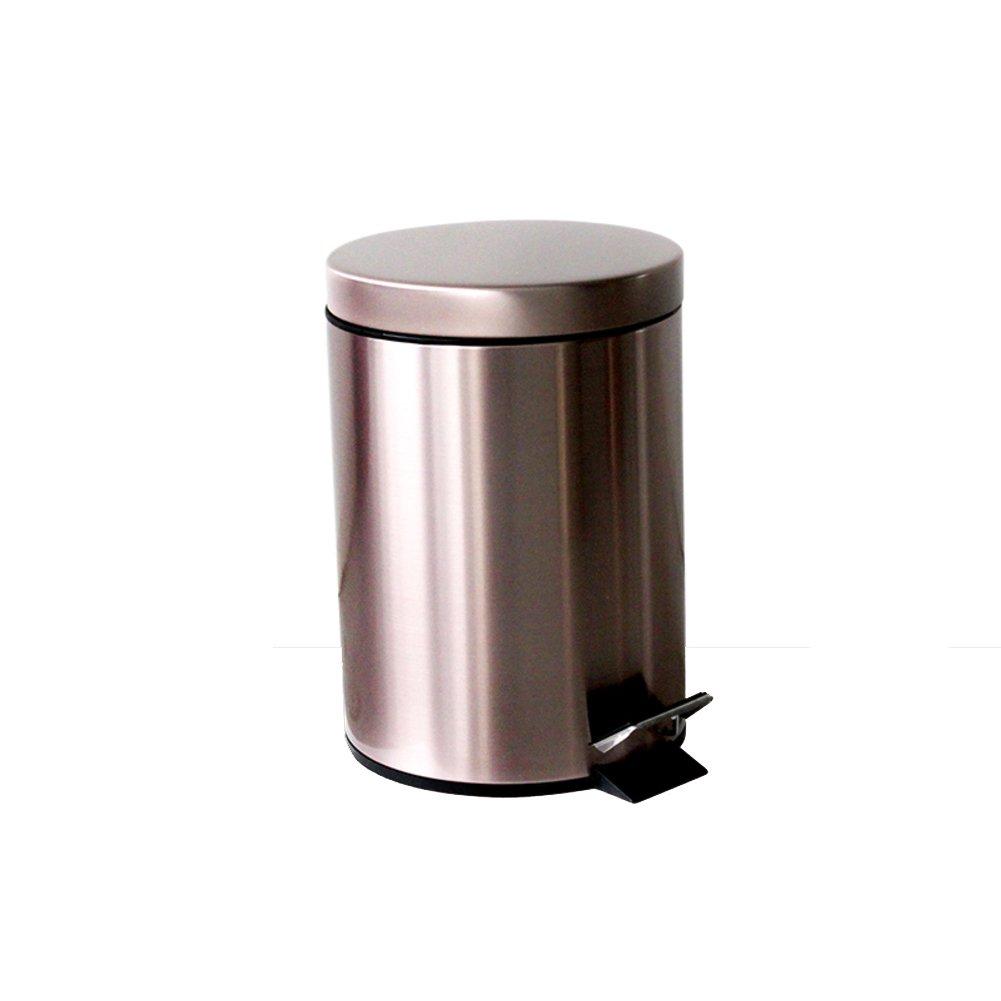 QWERTYUI Schritt Trash can Abfalleimer mit Deckel Edelstahl Trash can in Home & Küche Badezimmer büro-M