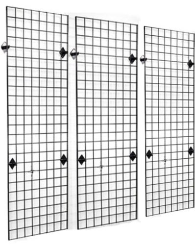 2' x 6' Grid Panel Wall Three Pack Combo with Wall Mount Brackets