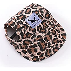 Happy Hours Dog Hat With Elastic Leather Chin Strap Ear Holes Visor Cap Puppy Pet Baseball Outdoor Sun Hat Oxford Fabric Canvas Sunbonnet 6 Colors 2 Sizes Available (Leopard, Size S)