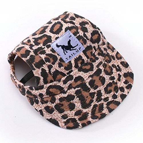 Happy Hours - Small Pet Dog Cat Baseball Visor Sports Hat Cap Puppy Summer Baseball Outdoor Ear Holes Sunbonnet Outfit Elastic Leather Neck Strap 6 Colors 2 Sizes Available (Leopard, Size M) - Leather Dog Cap
