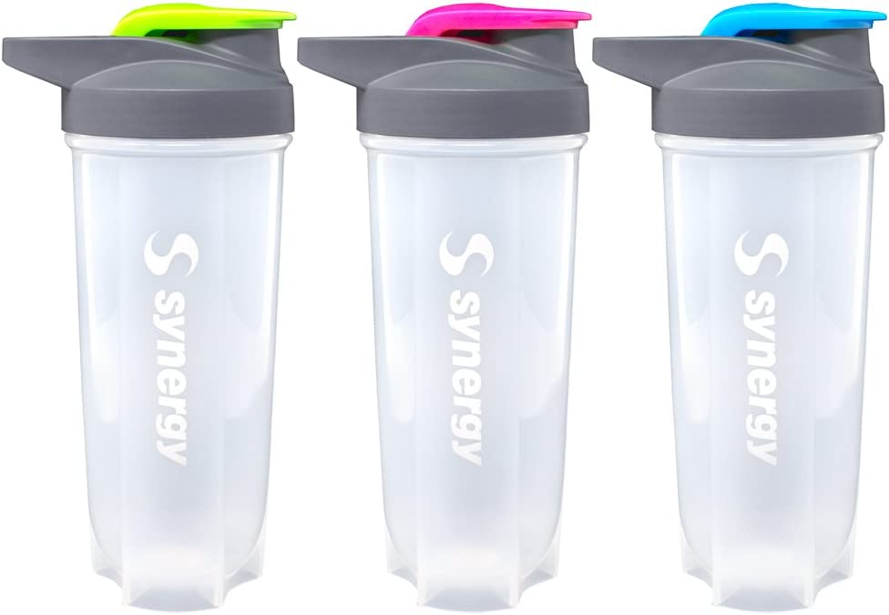 Synergy Protein Nutrition Shaker Bottle 3-Pack (24oz., Blue/Green/Pink)