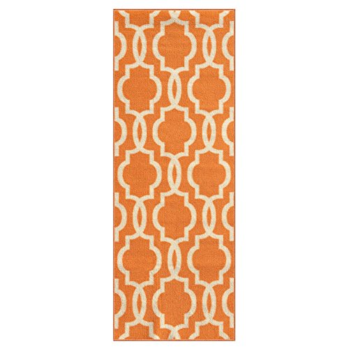 Custom Size Orange Moroccan Trellis Rubber Backed Non-Slip Hallway Stair Runner Rug 22in X (Orange Striped Rug)