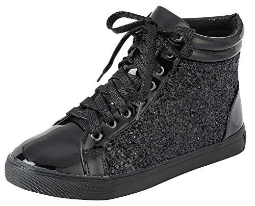 Cambridge Select Women's High Top Closed Round Toe Lace-Up Glitter Flatform Fashion Sneaker,6.5 B(M) US,Black -
